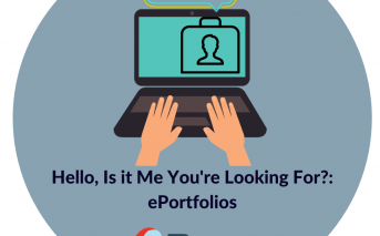 hello is it me you're looking for eportfolios design lab logo featuring a laptop with hands on the keyboard and a portfolio on the screen with a thought bubble hello above it