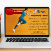 image of a desk with coffee cup laptop and potted succulent a woman wearing a superhero cape and tshirt posed spring to action with the peer educator power fall 2021 workshop schedule and link on the screen