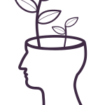image of a head with plants growing out of it representing ideas forming