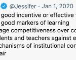 Jesse Stommel tweet grades are not good incentive or effective feedback, not good markers of learning, encourage competitiveness over collaboration, pit students and teachers against each other, mechanisms of institutional control